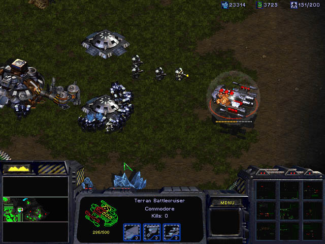 A battlecruiser and marine in StarCraft